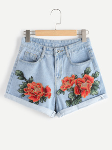 floral-denim-shorts